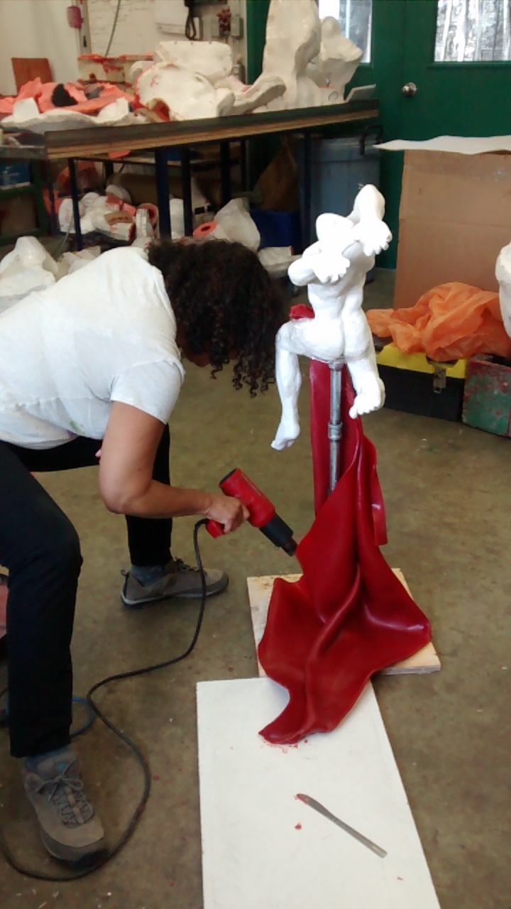 sculpting with red wax